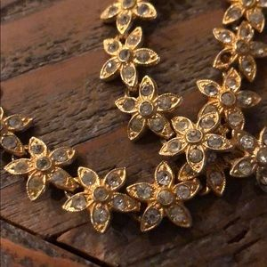 VINTAGE jeweled-star gold necklace+bracelet set.